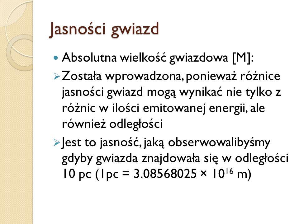 Jasności gwiazd Absolutna wielkość gwiazdowa [M]: